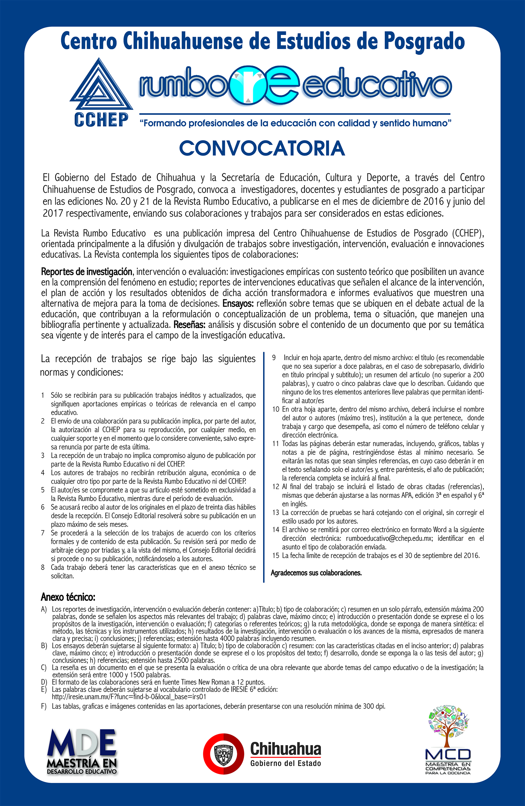 CONVOCATORIA RUMBO EDUCATIVO 20 Y 21