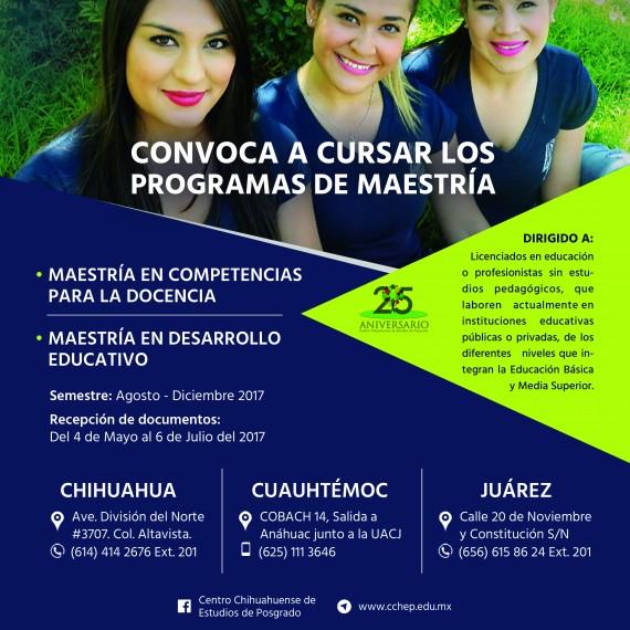 Convocatoria para cursar los programas de Maestría para el periodo Agosto-Diciembre 2017