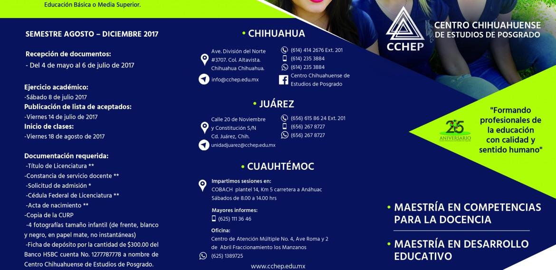 Programas de Maestría para el semestre Agosto-Diciembre 2017