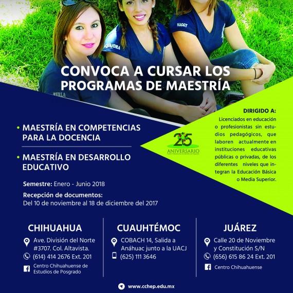 CONVOCATORIA PARA CURSAR LOS PROGRAMAS DE MAESTRIA.