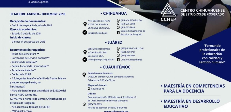 Centro Chihuahuense de Estudios de Posgrado convoca a cursar los programas de: Maestria en Competencias para la Docencia y Maestria en Desarollo Educativo.