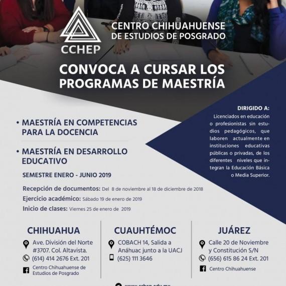 CCHEP invita a cursar sus programas de Maestría en Competencias para la Docencia y Maestría en Desarrollo Educativo para el semestre enero junio 2019.